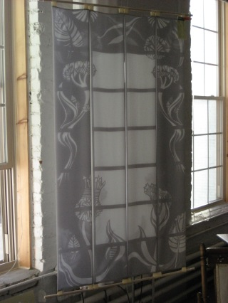 "Arabesque, sheer room divider, layered printed silk habitat, bamboo rods, 33"" x 58"""