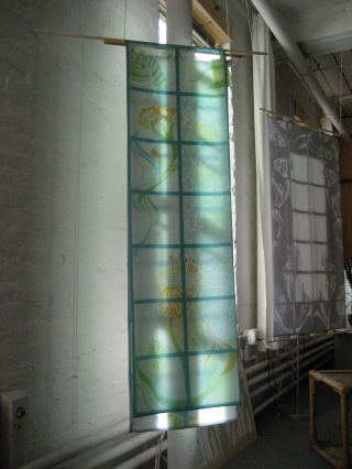 "Arabesque, sheer window hanging, layered printed silk habutai, 16 1/2"" x 58"""