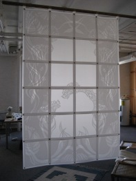 "Arabesque, semi sheer room divider, layered cut ""Mylar"", chicago fasteners 33"" X 49 1/2"""