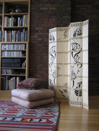 "Arabesque screen, 1/8"" bamboo ply, strapping, chicago screws, H: 63 3/4"""