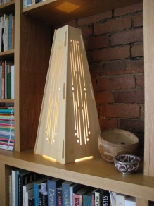 "Deco, tall bamboo ply lantern lined with shoji paper. H: 23"" Base: 9 1/2"" x 9 1/2"""