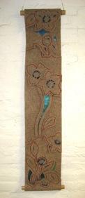 "Felt Floral IV, wall hanging, industrial wool felt, nylon gauze, floss, beads, bamboo rods, 20"" x 44"""