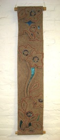 "Felt Floral IV, wall hanging, industrial wool felt, nylon gauze, floss, beads, bamboo rods, 20"" x 44"""