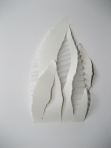 """Bud II, mixed papers, torn or pleated, 11 1/2"""" x 17"""", mounted"""
