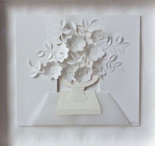 "Floral III, Urn, mixed cut papers, 19 1/2"" x 18"", framed"