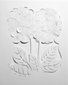 "Hydrangea, cut and layered paper, cotton thread, 14"" x 16"", mounted"