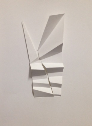 "Dart I; pleated bristol paper, 9"" x 15"" mounted"