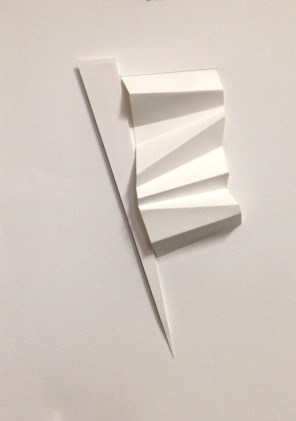 """Dart II, cut and pleated bristol paper, 9"""" x 15"""""""