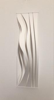 "Warp I Meander, twisted bristol paper, 9"" x 15"", mounted"