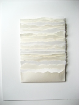 """Rips II Horizontal, mixed papers, torn and layered, 14"""" x 17"""", mounted"""