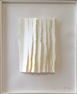 """Rips I Vertical, torn and layered paper, gouache, 14"""" x 17"""", mounted"""