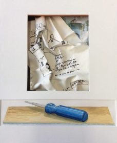 House + Work = Home, dimensional paper assemblage, watercolor