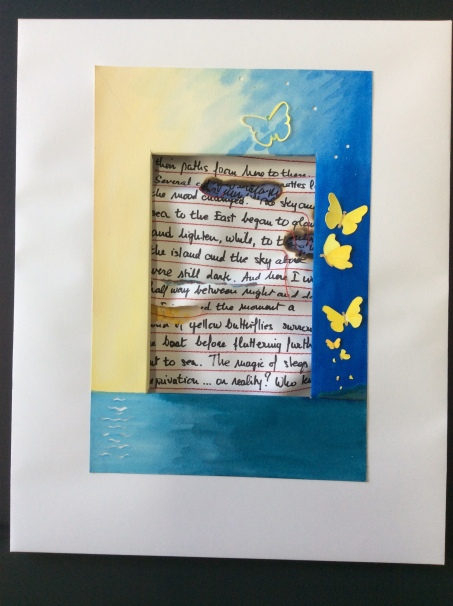 Butterflies at Sea, dimensional paper assemblage, gouache, stitching