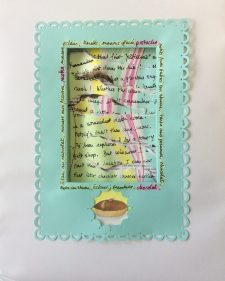 Chocolat, dimensional cut paper assemblage, watercolor, stitching