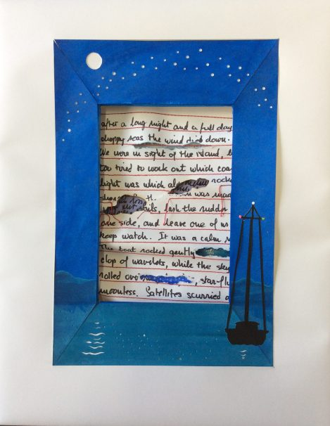 Overnight Watch, dimensional cut paper assemblage, gouache, stitching