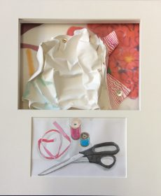 Quick, Sew While the ids Sleep, dimensional paper assemblage, watercolor, buttons