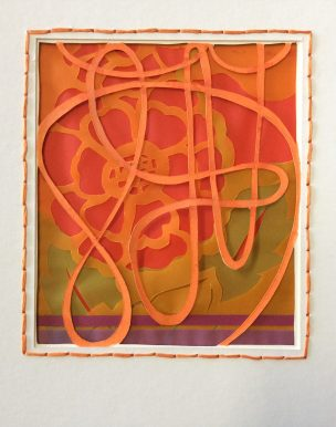 Tangle 2, Orange, mixed layered papers