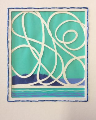 Tangle 3 Blue, layered and cut papers, thread