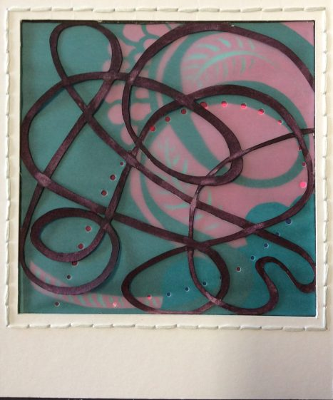 Tangle 5, Maroon/Pine, mixed cut and layered papers
