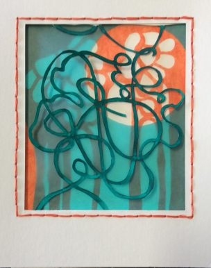 Tangle 1 Orange/Turquoise, mixed papers, layered.