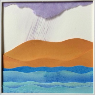 """Genesis, Day 2 (separation of land and the waters), layered and painted paper collage, 4.5""""x4.5"""", framed"""