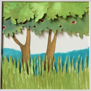 """Genesis, Day 3 (creation of trees, fruits and grasses), layered and painted paper collage, 4.5""""x4.5"""", framed"""