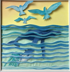 """Genesis, Day 5, creation of birds, whales and sea creatures, layered and painted paper collage, 4.5""""x4.5"""", framed"""