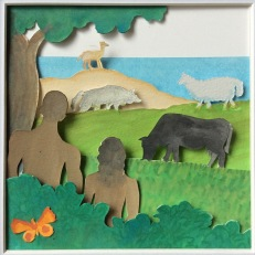"""Genesis, Day 6 (creation of cattle and other animals, insects... and people), layered and painted paper collage, 4.5""""x4.5"""", framed"""