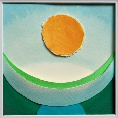 """Genesis, Day 7 (day of rest), layered and painted paper collage, 4.5""""x4.5"""", framed"""