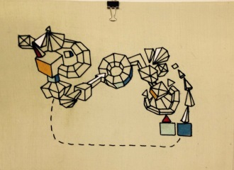 """Space Machine Black thread, mixed papers, nylon gauze, 20""""x16"""", framed"""