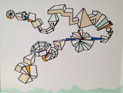 """Zero Gravity, space travel, black thread, mixed papers, 20""""x16"""", framed"""