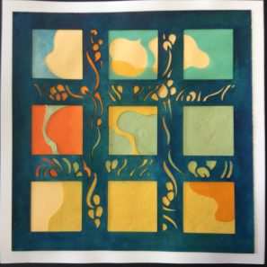 Nine Clouds with Flowers, mixed cut and painted papers