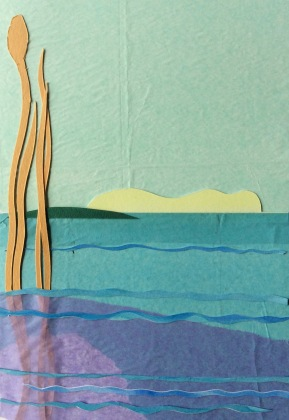 """Island, mixed paper collage. 11"""" x 18 1/2"""""""