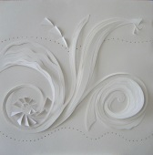 """Breeze, mixed papers in low relief, 19""""x19"""", mounted"""