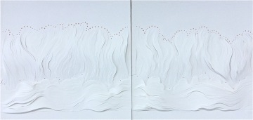 """Fire, diptych mixed papers in low relief, 2x 19""""x19"""", mounted"""
