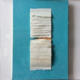 """Rift I, mixed and layered papers, beads, copper wire, 19"""" x 19"""", framed"""