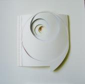 "Spiral III, layered paper, gouache, thread 19"" x 19"""
