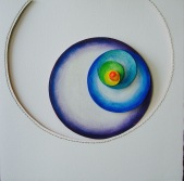 "Spiral II, layered aquarelle paper, watercolor pencil, thread, 19"" x 19"", framed"