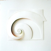 "Spiral I, aquarelle paper, gouache, cotton thread 19"" x 19"""