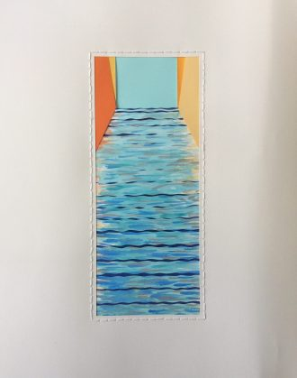 Canal, mixed paper assemblage, watercolor, thread.