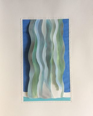 Waterfall, dimensional cut papers, watercolor, thread
