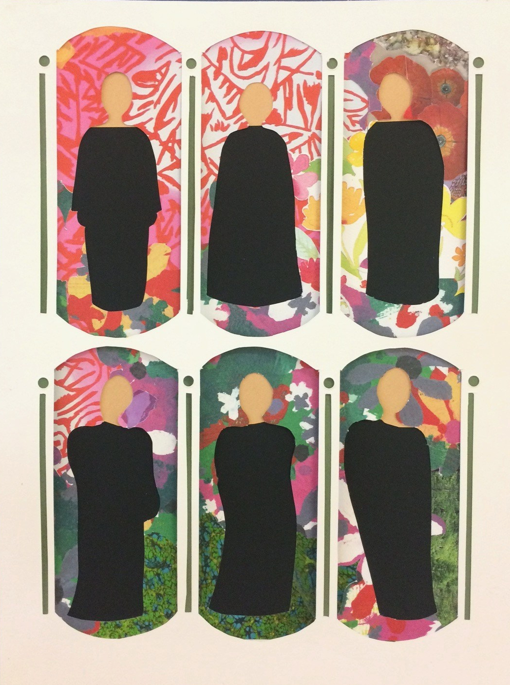 """""""Nuns in a garden"""", cut and layered papers, 11"""" x 14.5"""""""