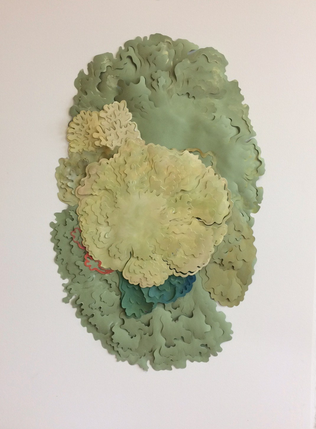 """Lichen"", painted and layered cut paper"