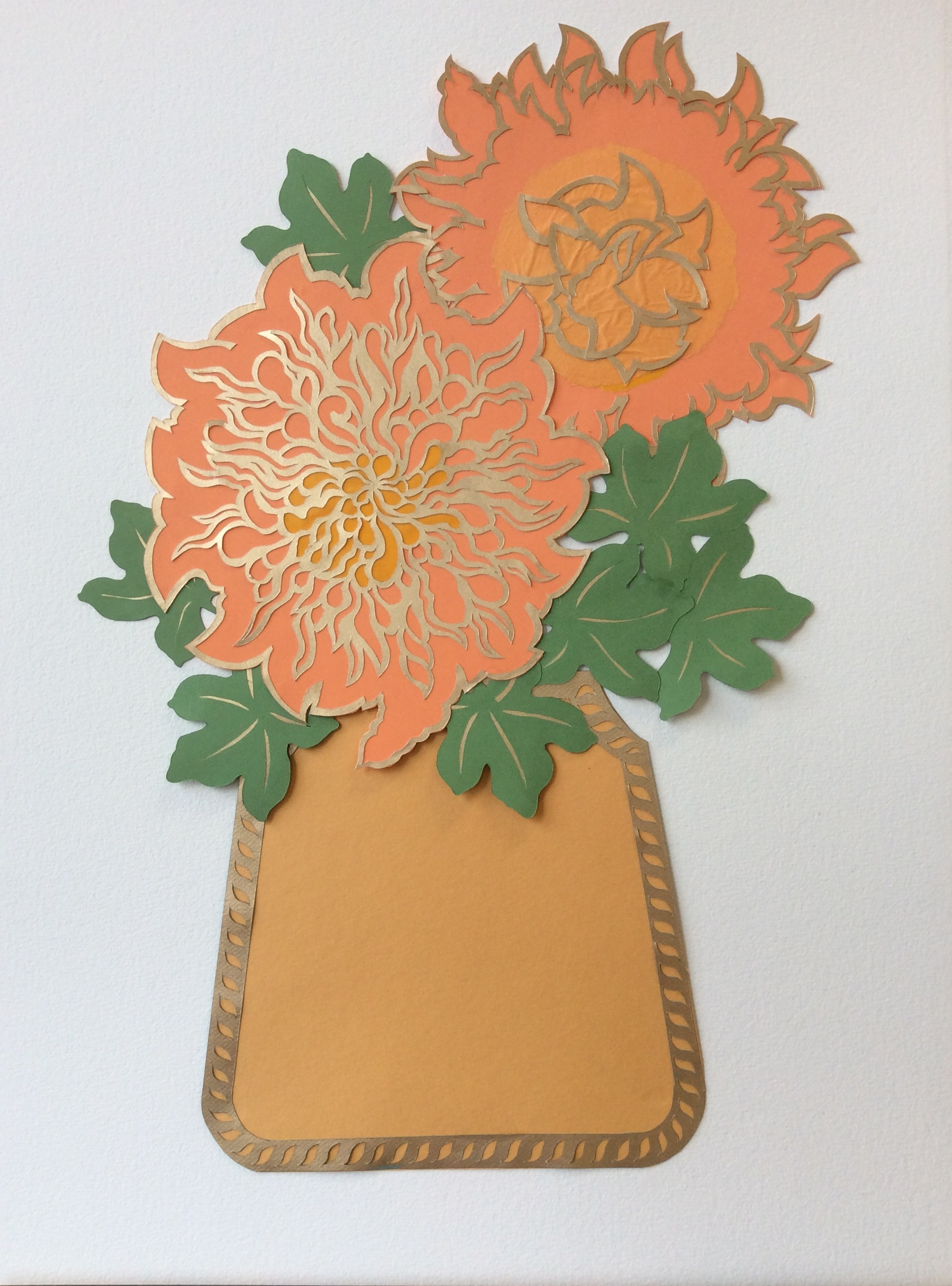 """Blousy Chrysanthemums"", cut and layered papers, 22"" x 30"""