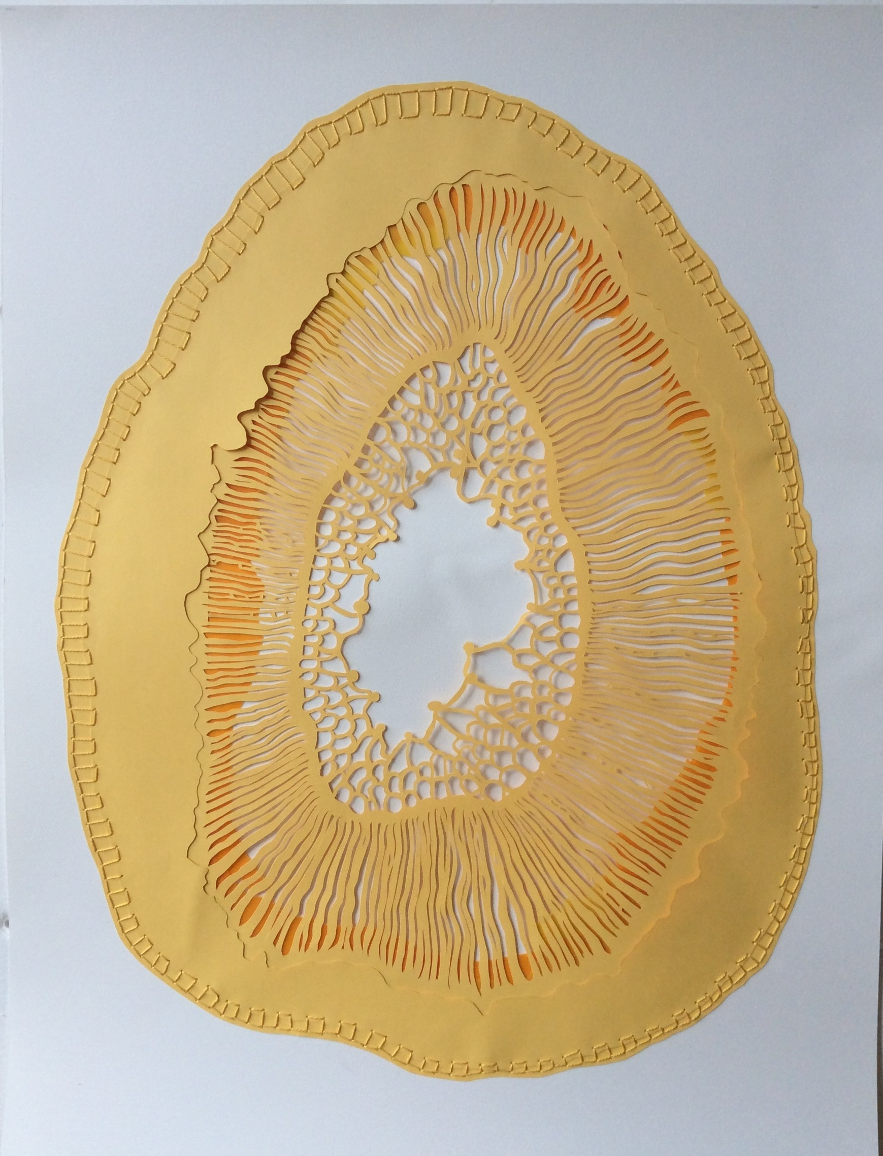 """Stem Section"", cut, layered and sewn papers, 22"" x 30"""